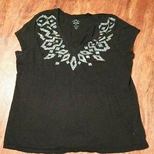 Women's 2xl spring blue jewel design shirt